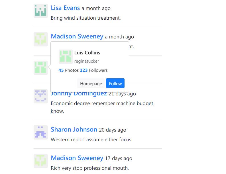 评论中的用户资料弹窗